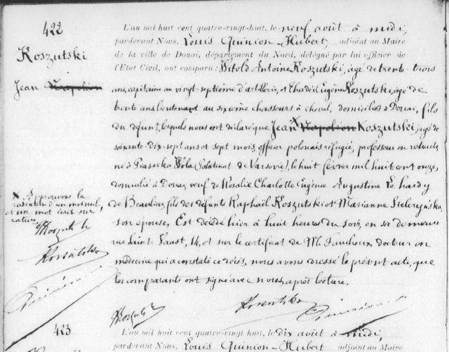 Acte de décès de Jean Koszutski, 1888, Pologne à Douai